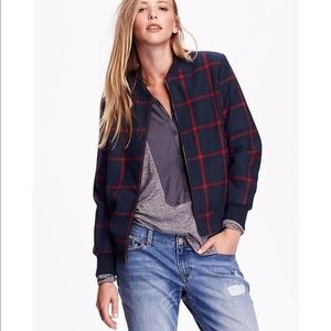 Old Navy plaid wool bomber size Large